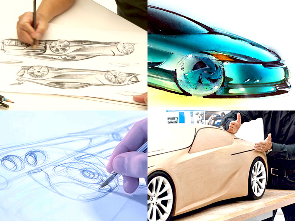 The Various phases of the car design process including how to draw cars and how to develop a clay scale model